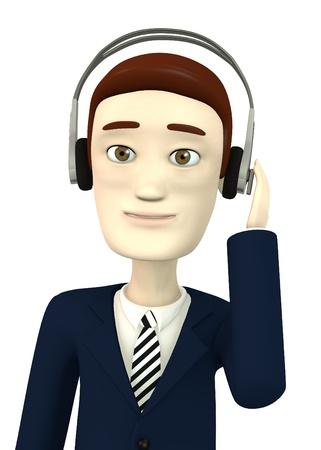 3d render of cartoon character with headphones photo
