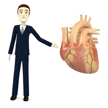 3d render of cartoon character with human heart Stock Photo - 18452696