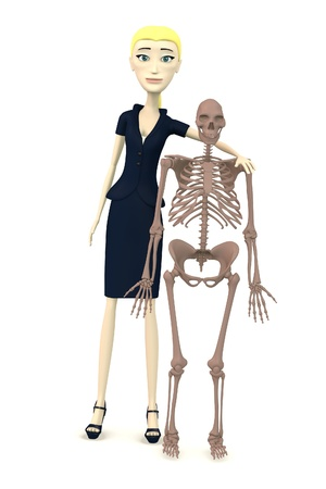 erectus: 3d render of cartoon character with homo erectus skeleton