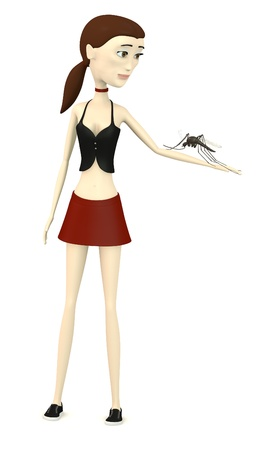 3d render of cartoon character with mosquito Stock Photo - 18448744