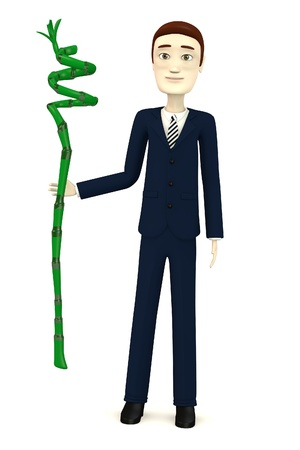 lucky bamboo: 3d render of cartoon character with lucky bamboo