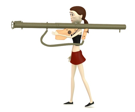 bazooka: 3d render of cartoon character with bazooka