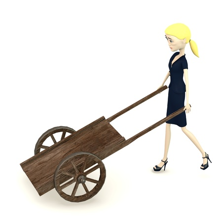 figourine: 3d render of cartoon character with medieval cart