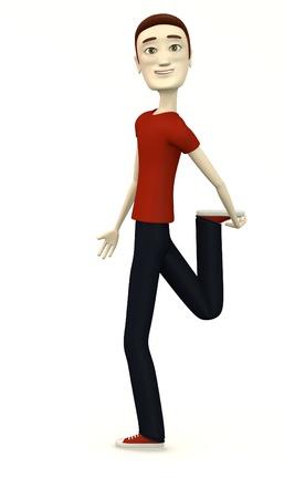 artificial leg: cartoon man in casual clothes- stretching leg Stock Photo