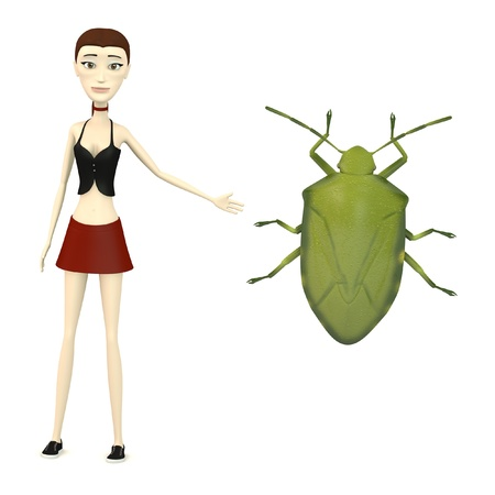 stink: 3d render of cartoon character with stink bug Stock Photo