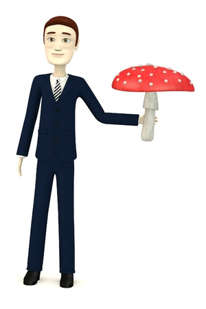 figourine: 3d render of cartoon character with amanita muscaria