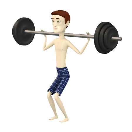 squat: 3d render of cartoon character with barbell Stock Photo