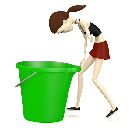 3d render of cartoon character with bucket Stock Photo - 18580026
