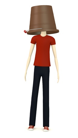 3d render of cartoon character with bucket on head photo