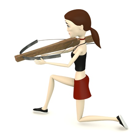 crossbow: 3d render of cartoon character with crossbow Stock Photo