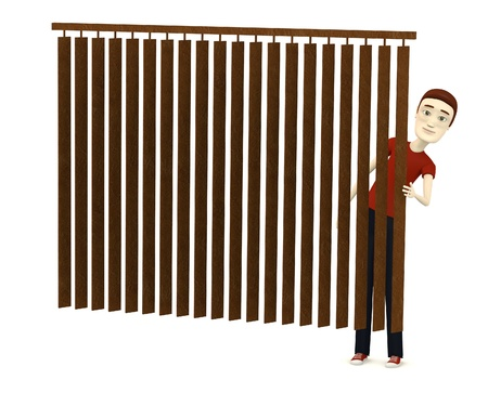 figourine: 3d render of cartoon character behind curtain Stock Photo