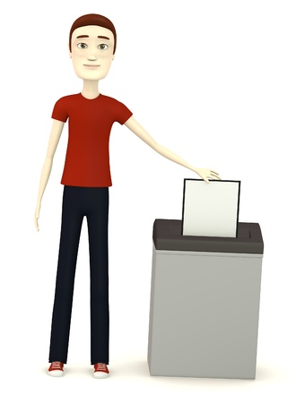 3d render of cartoon character with document and destructer photo