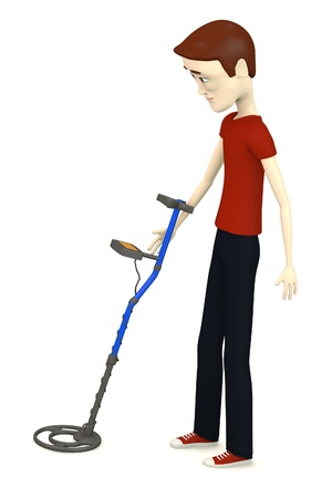 3d render of cartoon character with metal detector Stock Photo - 18579857