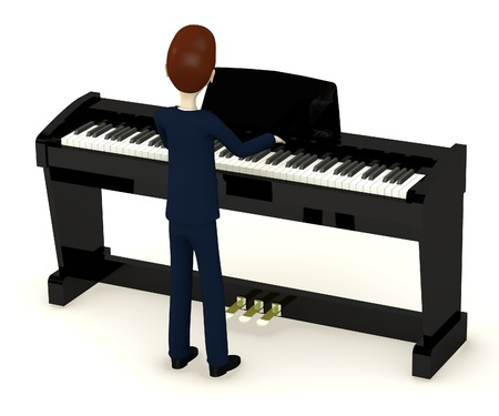 clavier: 3d render of cartoon character playing on digital piano Stock Photo