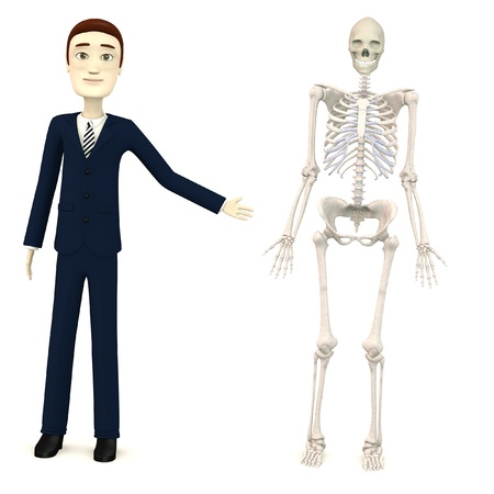 3d render of cartoon character with female skeleton Stock Photo - 18580574