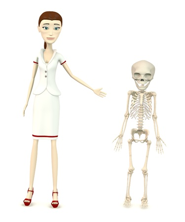 3d render of cartoon character with fetus skeleton photo