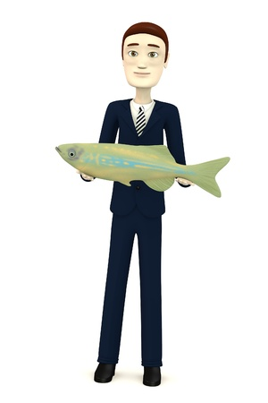 3d render of cartoon character with fish photo