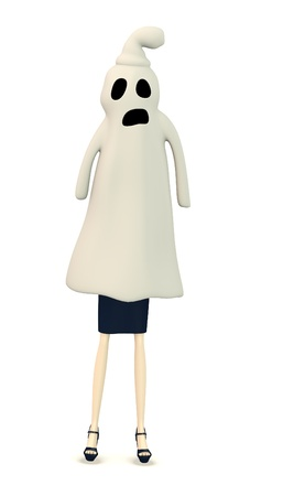 3d render of cartoon character with ghost Stock Photo - 18579308