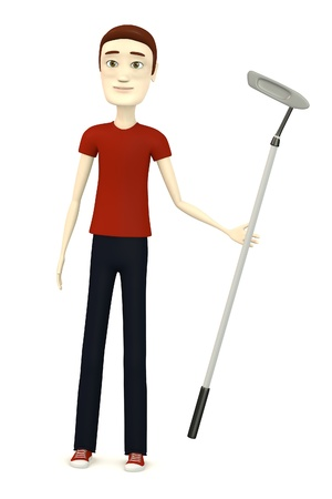 3d render of cartoon character with golf club photo
