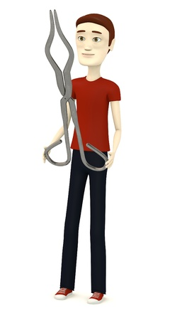 tongs: 3d render of cartoon character with tongs Stock Photo