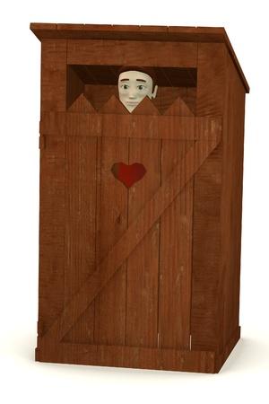 latrina: 3d rendering di personaggio dei cartoni animati in latrina Archivio Fotografico
