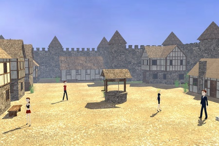 3d render of cartoon characters in medieval town photo