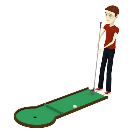 3d render of cartoon character with minigolf photo