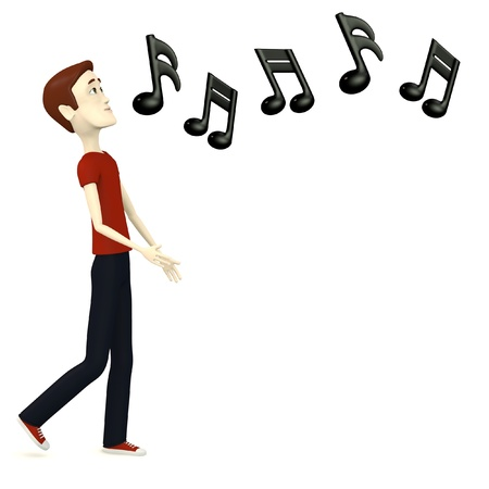 3d Render Of Cartoon Character With Musical Symbols Stock Photo