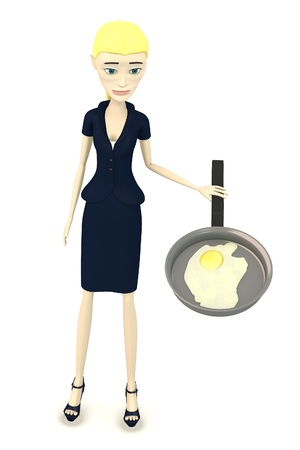 scrambled: 3d render of cartoon character with egg in pan Stock Photo