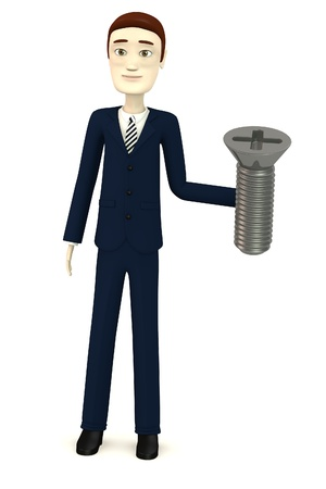 screw head: 3d render of cartoon character with screw Stock Photo