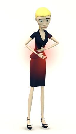 pms: cartoon businesswoman - stomach troubles