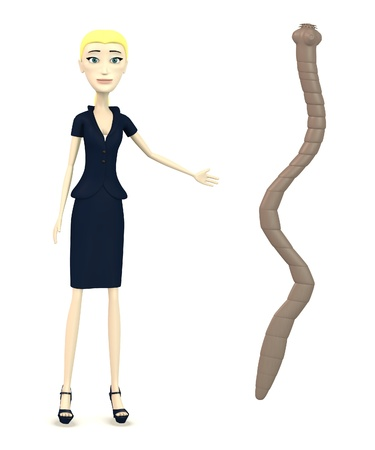 3d render of cartoon character with tapeworm photo