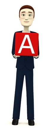 3d render of businessman with letter A photo