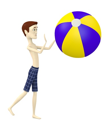 3d render of cartoon character with beach ball