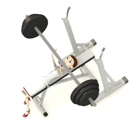 benchpress: 3d render of cartoon character with benchpress