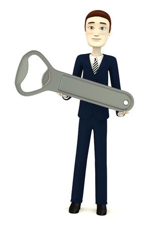 3d render of cartoon character with bottle opener Stock Photo