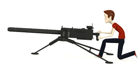 3d render of cartoon character with gun