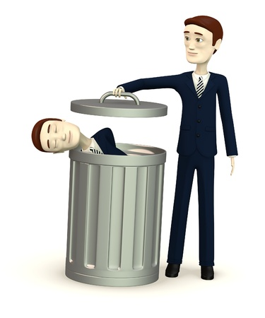 3d render of cartoon character in bin photo