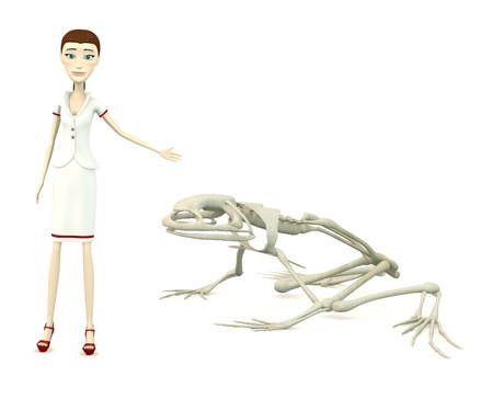 3d render of cartoon character with frog skeleton Stock Photo
