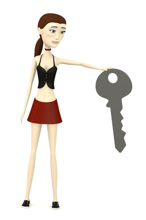 3d render of cartoon character with big key photo