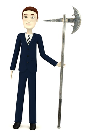 figourine: 3d render of cartoon character with axe