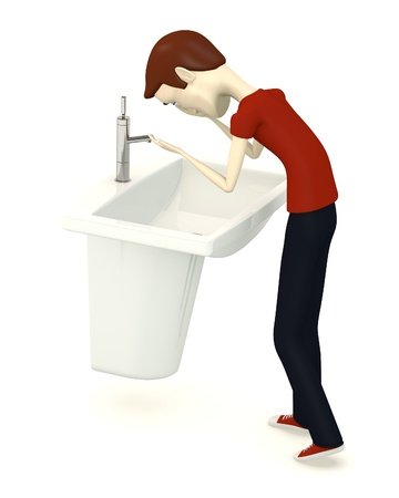 basin: 3d render of cartoon character with basin Stock Photo