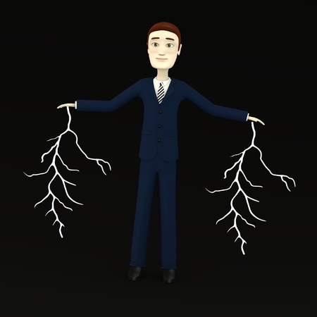 3d render of cartoon character with lightnings photo