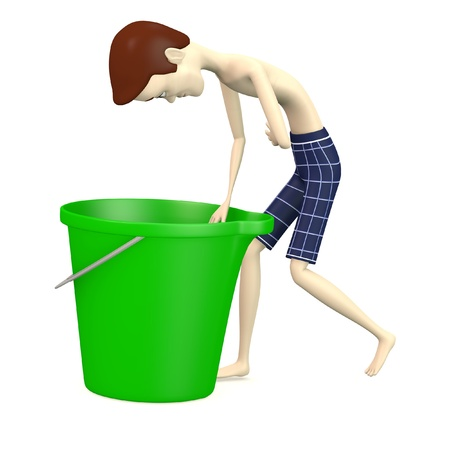 3d render of cartoon character with bucket Stock Photo - 19229811