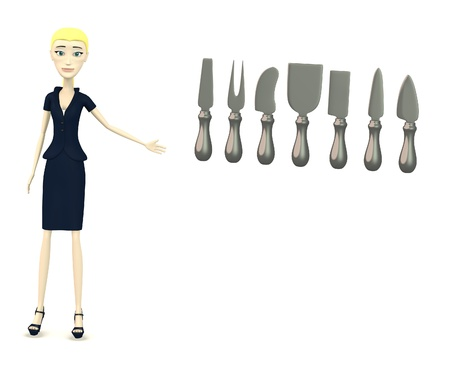 knive: 3d render of cartoon character with cheese tools Stock Photo