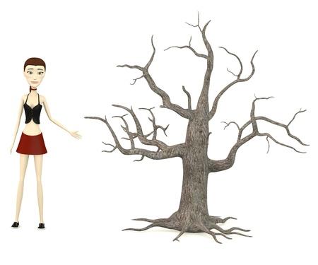 toter baum: 3D-Darstellung von Cartoon-Figur mit toten Baum Lizenzfreie Bilder