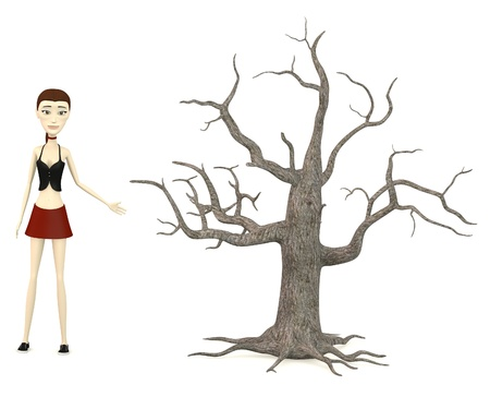 dead tree: 3d render of cartoon character with dead tree