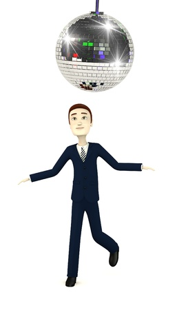 discoball: 3d render of cartoon character with discoball Stock Photo