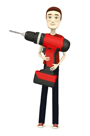 3d render of cartoon character with drill photo
