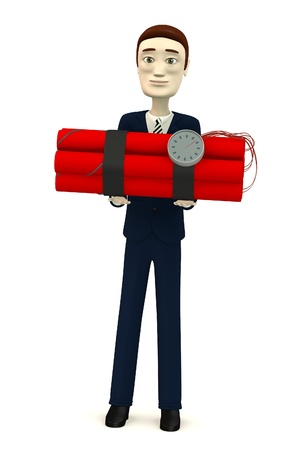 3d render of cartoon character with dynamite Stock Photo - 19229697